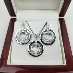 Swarovski Crystal Circle Set Pendant and Earrings